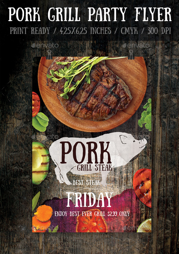 Pork Bbq Flyer Template By Bugsster  Graphicriver
