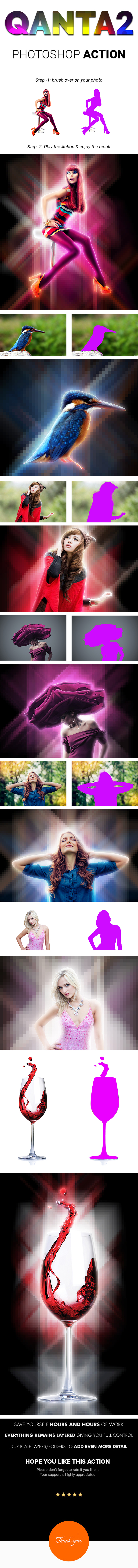 QANTA2 | Pixelate Neon light glowing Effect Photoshop Actions - Photo Effects Actions