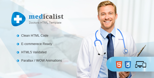 Medicalist – A Responsive HTML Template for Medical, Doctors, Dentists, Clinics and Hospitals