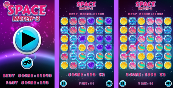 Space Match3 - HTML5 Game + Android + AdMob (Capx) - CodeCanyon Item for Sale