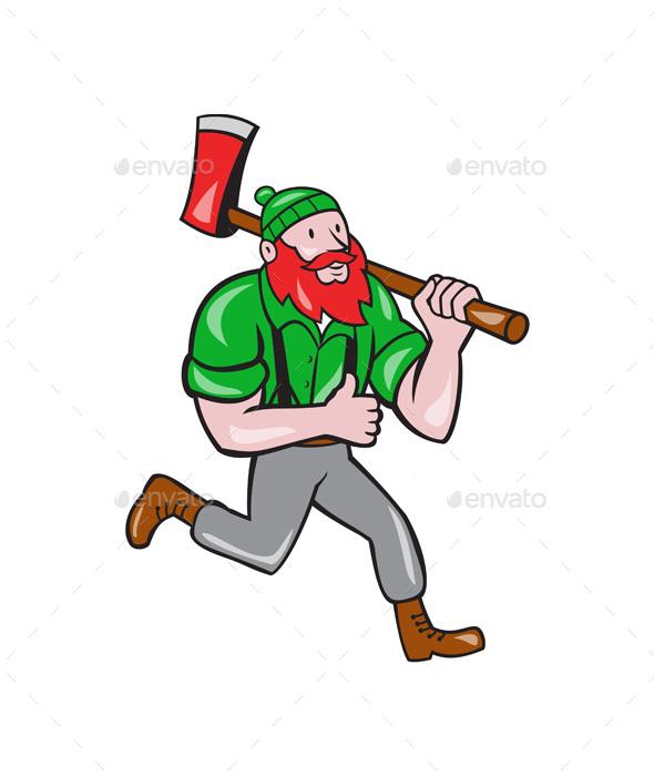 Cartoon Characters Running : Paul bunyan lumberjack axe running cartoon by patrimonio