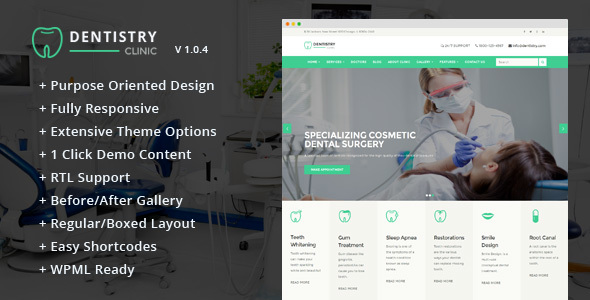 Dentistry – Dental Clinic & Dentist WordPress Theme