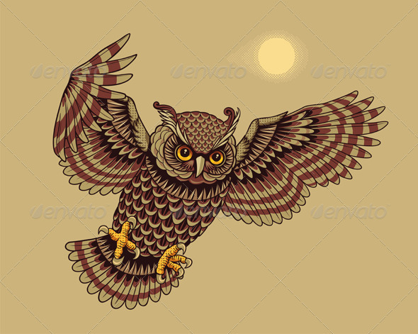Flying Owl Bird - Animals Characters