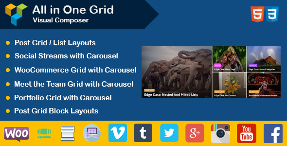 Visual Composer : Post | Portfolio | Social Stream | WooCommerce | Team Grid Layouts - CodeCanyon Item for Sale