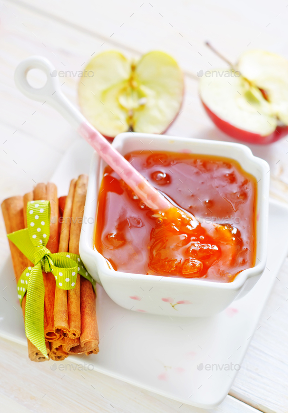jam and apples - Stock Photo - Images