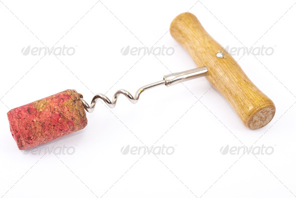 Cork and corkscrew - Stock Photo - Images