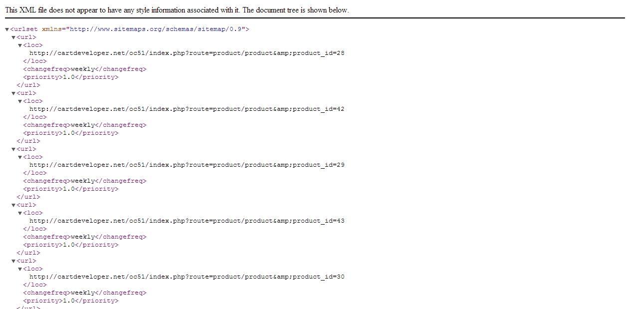 google sitemap advanced for opencart by cartdeveloper1 codecanyon