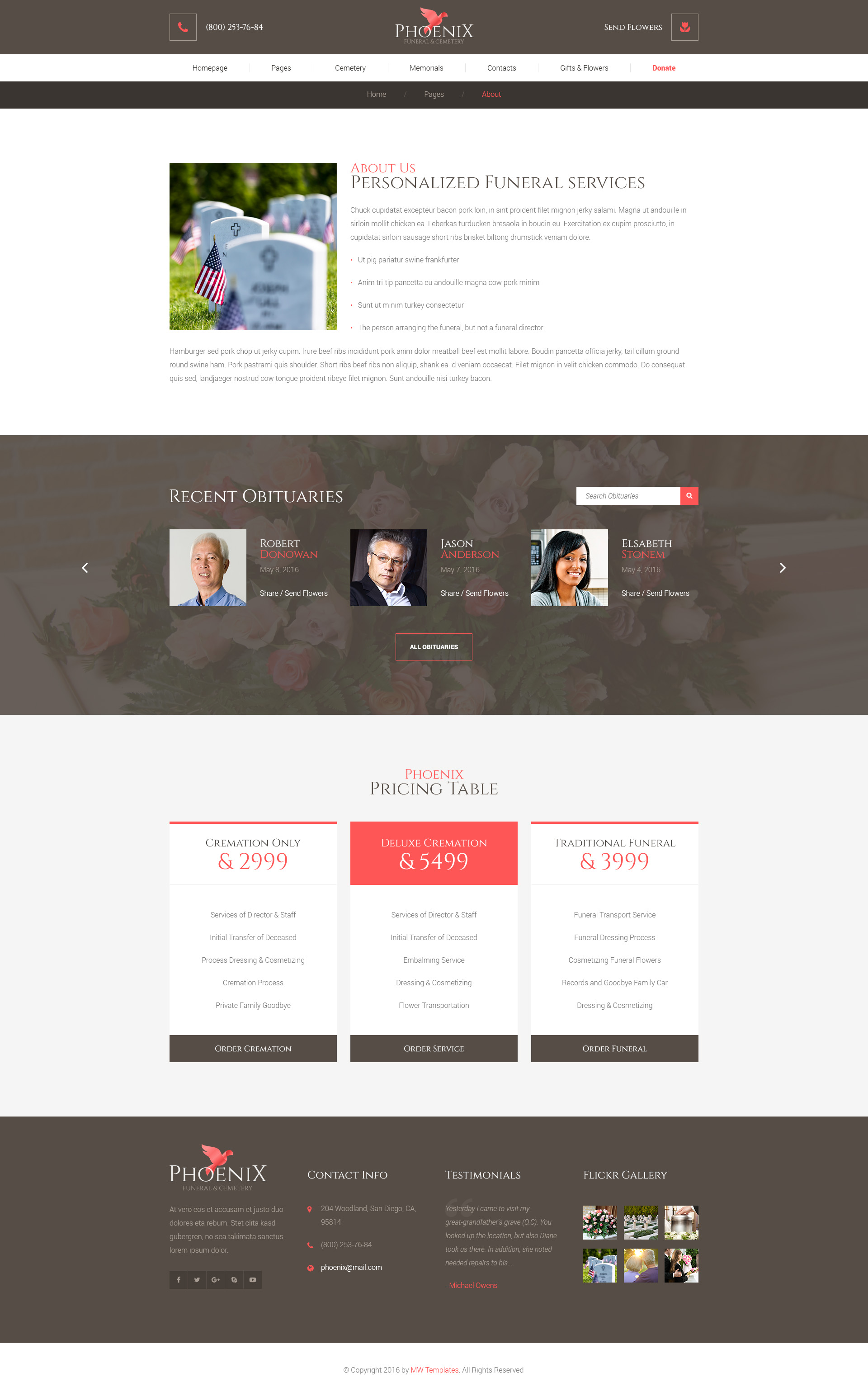phoenix - funeral service, funeral home & cemetery psd template