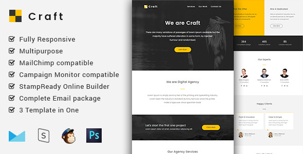 Craft – Complete Email Package – Responsive Templates + Builder