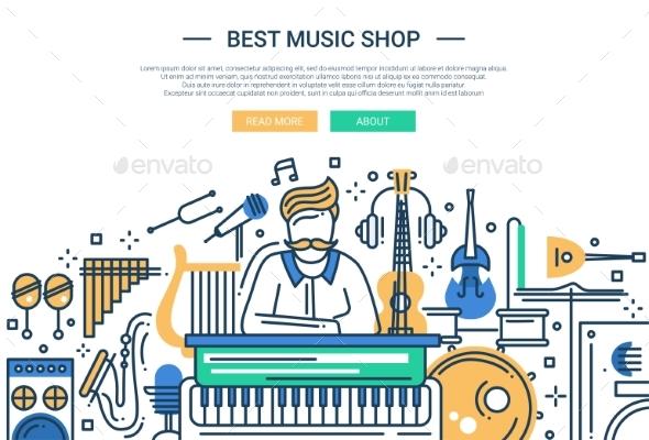 Music Shop Website Header Banner Template - Web Elements Vectors