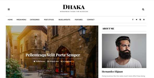 Dhaka - HTML5 Responsive Blog Template. - Personal Site Templates