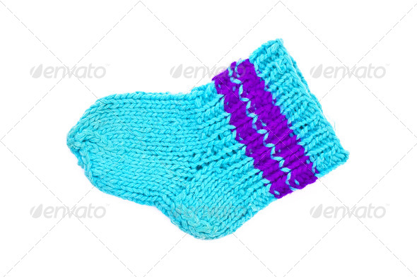 Knitted blue socks - Stock Photo - Images
