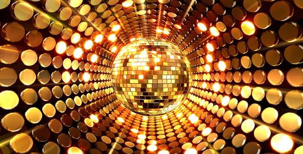 Gold Disco Ball Background by AS_100 | VideoHive