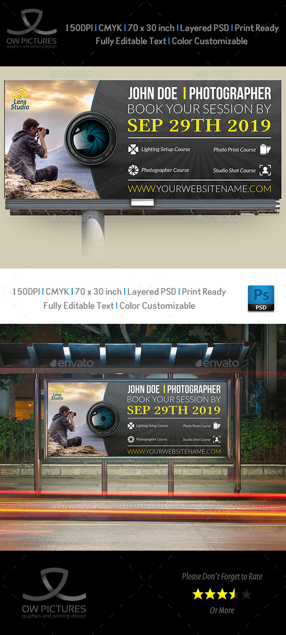 Photographer Billboard Template - Signage Print Templates