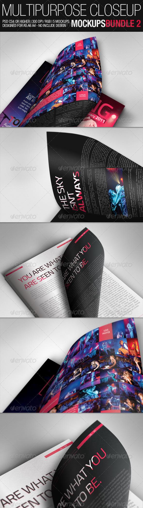 Multipurpose Closeup Mockups Bundle 02 - Miscellaneous Print