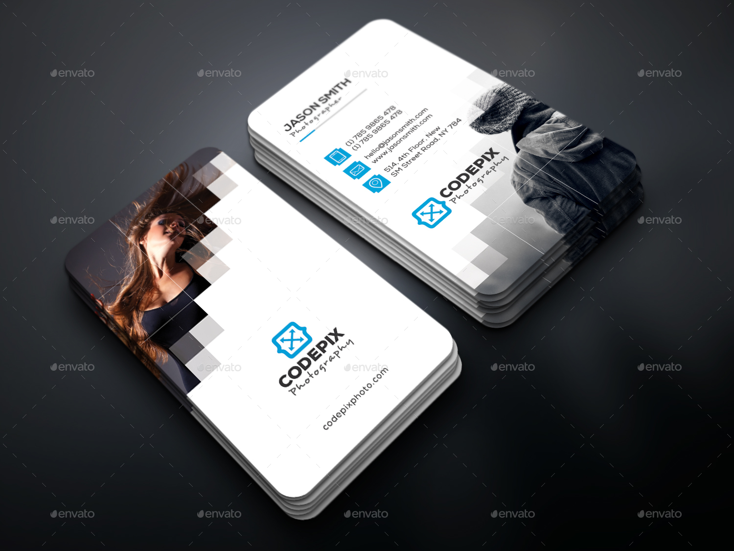 Pixel Photography Business Card by UXcred | GraphicRiver