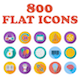 Set of 800 Flat Icons - GraphicRiver Item for Sale
