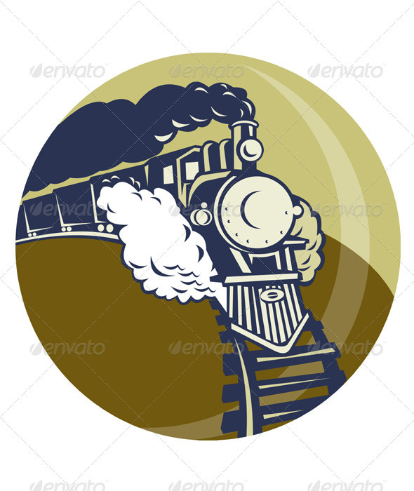 Steam Train Locomotive Retro - Objects Vectors