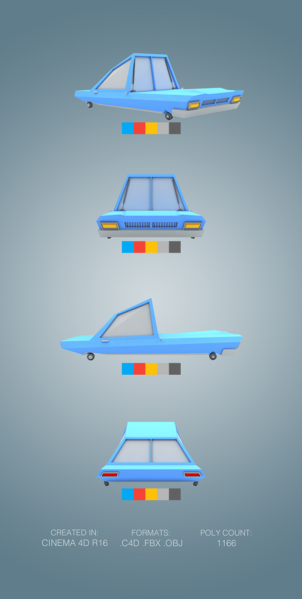 Low Poly Sportcar - 3DOcean Item for Sale