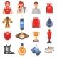 Boxing Ammunition Flat Color Icons Set