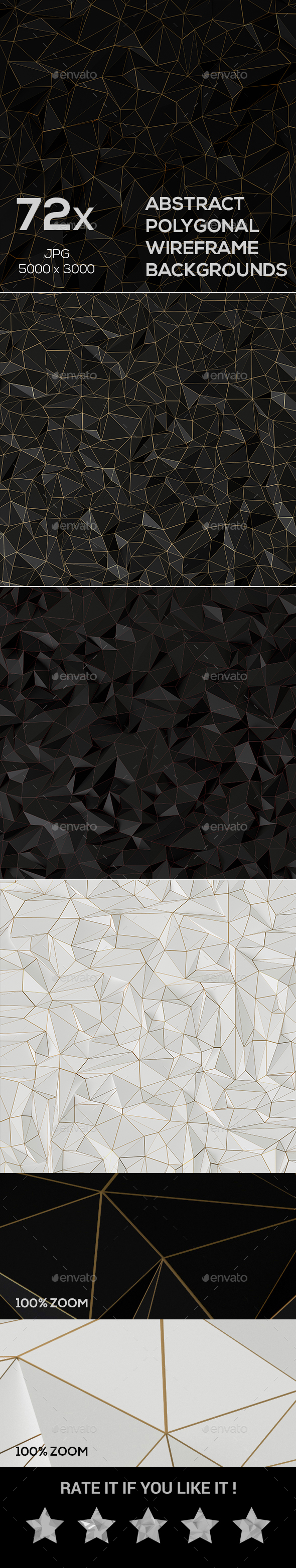 72x Abstract Polygonal Wireframe Backgrounds