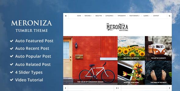 Meroniza – A Responsive & Elegant Tumblr Theme