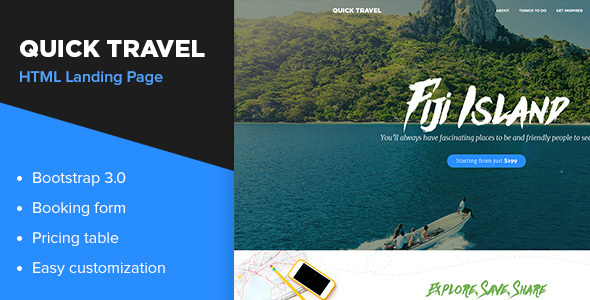 Quick Travel HTML Landing Page - Travel Retail