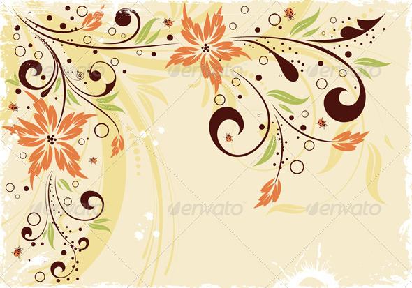 Grunge floral frame - Borders Decorative