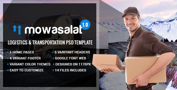 Mowasalat – Logistics and Transports PSD Template
