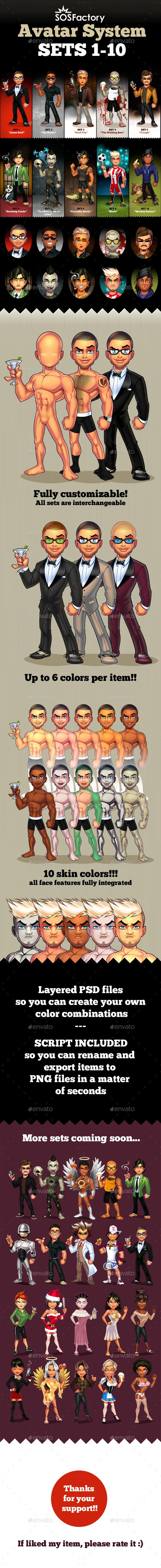 Avatar Creator 1-10 Bundle - Characters Illustrations