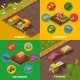Agricultural Machinery 4 Isometric Icons Square