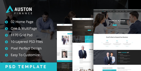 Auston – Finance & Business One & MultiPage PSD Template