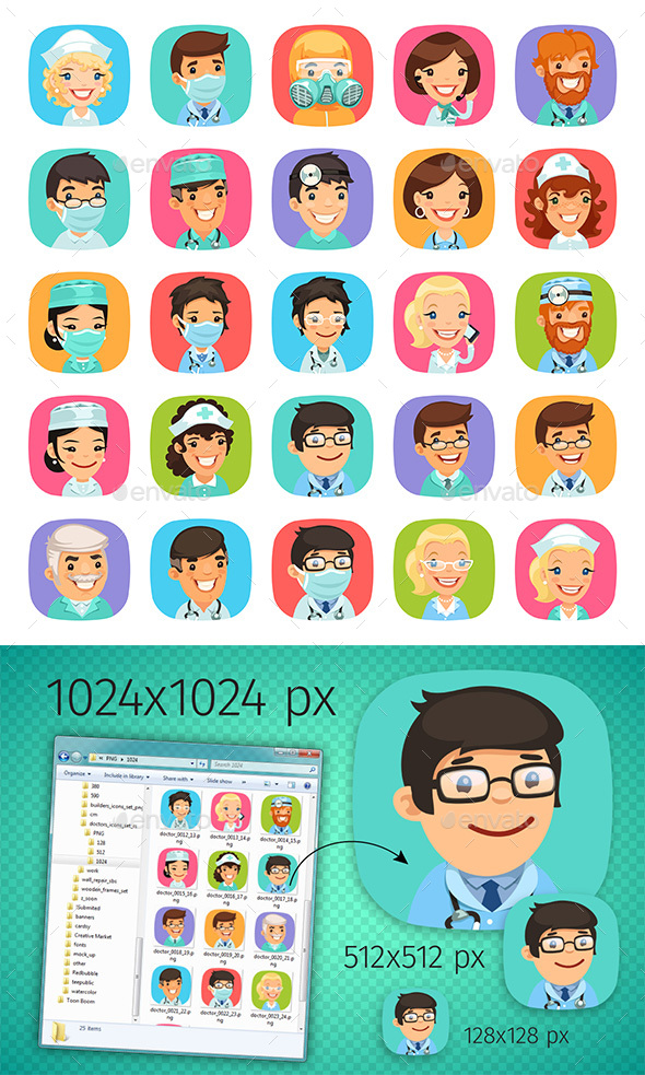 Doctors Cartoon Characters Icons Set - People Characters