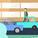 Flat City - Car Tracking, city with Buildings, Pedestrians & Cars in Flat Design - VideoHive Item for Sale