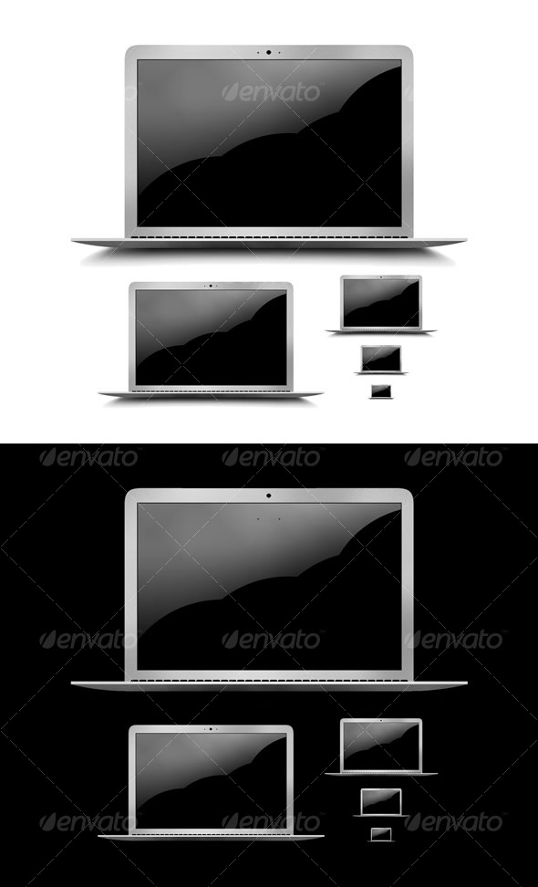 Layered PSD & PNG High Res Laptop Graphic + Icons - Technology Icons
