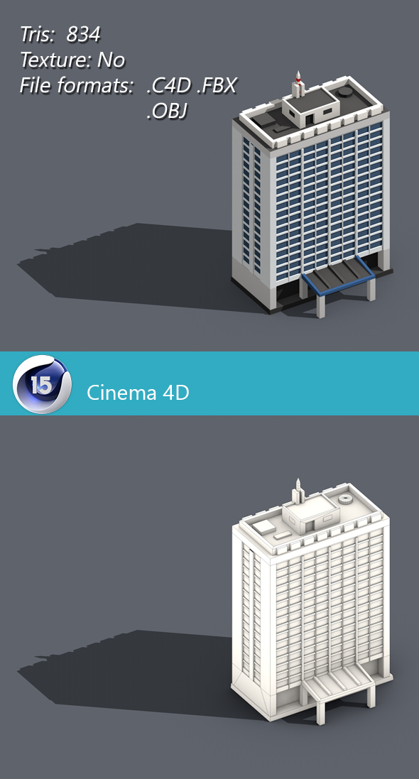 Low poly building 002 - 3DOcean Item for Sale