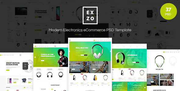 Exzo – Modern Electronics eCommerce PSD Template
