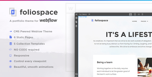 Image of Foliospace - Responsive Webflow Portfolio Template