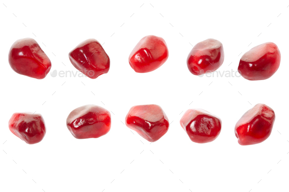 Pomegranate red seed collection isolated on white, clipping path