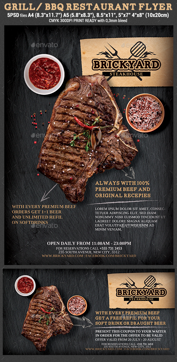 Grill/steak Restaurant Flyer Template