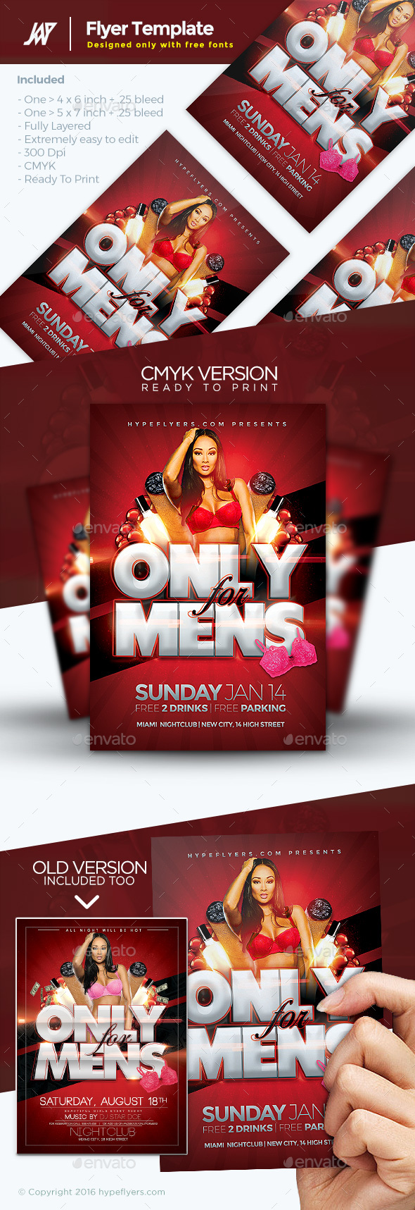 Only for Mens Flyer - Clubs & Parties Events