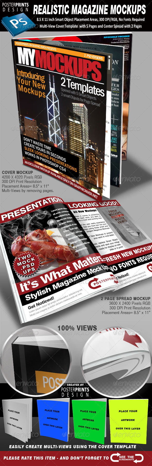 2 Realistic Magazine Mockups - Magazines Print