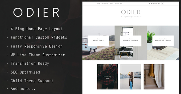 Odier - Simple & Elegant WordPress Blog Theme