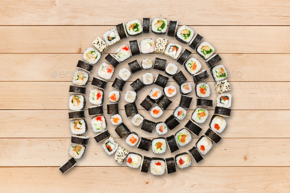 Set of maki sushi and rolls at wood. - Stock Photo - Images