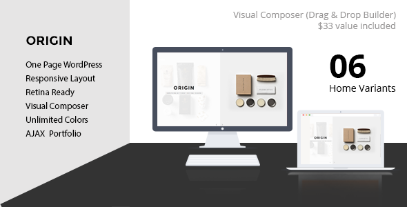ORIGIN - Creative One Page Slant WordPress Theme - Portfolio Creative