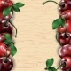 Many Cherries on Wooden Texture Background - GraphicRiver Item for Sale
