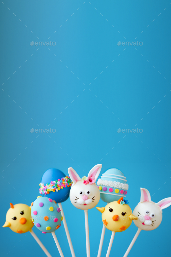 Easter cake pop background - Stock Photo - Images