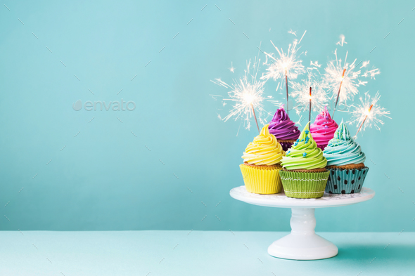 Cupcakes with sparklers - Stock Photo - Images