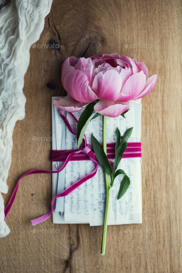 Old letters with peony rose - Stock Photo - Images