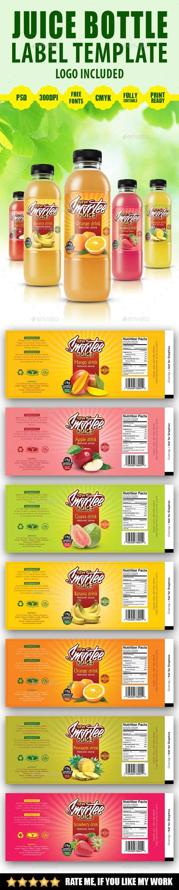 Juice Bottle Label Template V2 by Artsignz | GraphicRiver